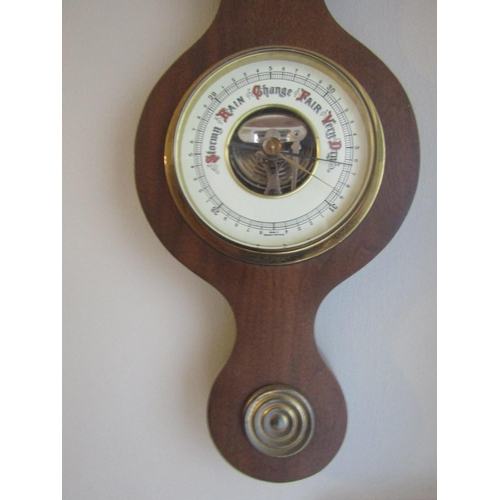 40 - Banjo Wall barometer with Enamel Decorated Dial Approximately 24 Inches High...