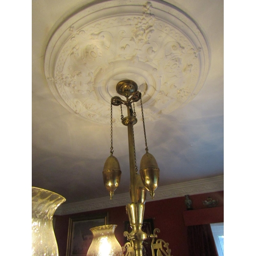 41 - Antique Cast Brass Ceiling Light with Weighted System Electrified Working Order Finely Detailed Appr...