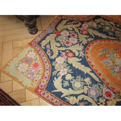 43 - Tapestry Floor Panel Hand Stitched with Backing Attractive Ochre Colours Floral Motif Decoration App...