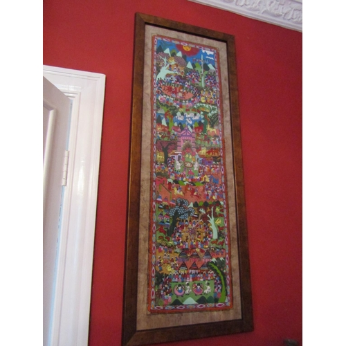 44 - Persian Wall Panel Depicting Royal Coronation Approximately 4ft High x 14 Inches Wide...