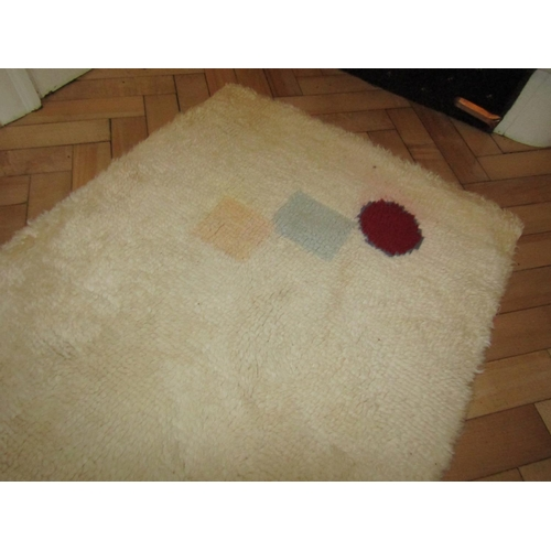 45 - Three Vintage Pure Wool Rugs including Geometric Pattern Cream Ground Approximately 2ft x 4ft...
