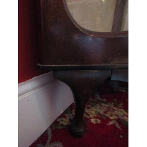 46 - Vintage Mahogany Corner Cabinet Glazed Shelves Sliding Door Above Queen Anne Supports Approximately ...