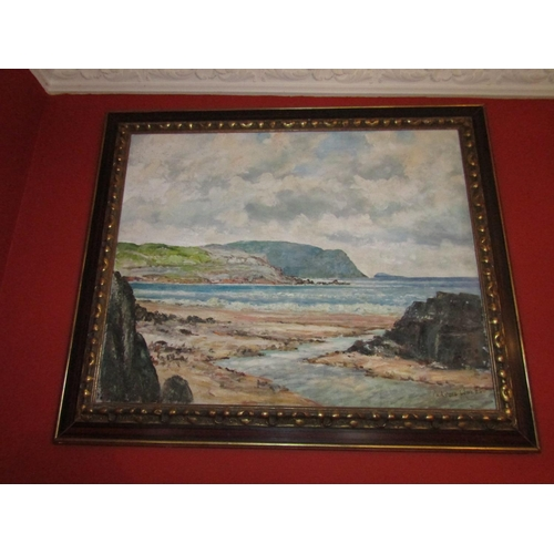 47 - Padraig Woods Irish School Northern Sea Scape Oil on Canvas Approximately 24 Inches High x 30 Inches...