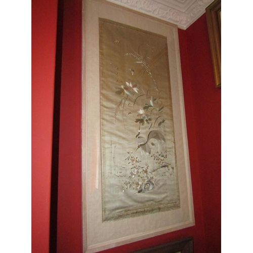 49 - Antique Oriental Silkwork Panel Finely Detailed Avian Motif Decoration Approximately 50 Inches High ...