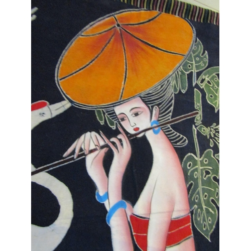 5 - Batik Hand Finished Wall Hanging Lady with Flute Approximately 2ft 6 Inches High x 28 Inches Wide...
