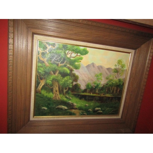 50 - American School River Scene with Mountains Beyond Oil on Canvas Approximately 14 Inches High x 16 In...
