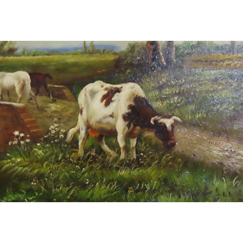 51 - Barbizon School Twentieth Century Bridge Scene with Farm Animals Oil on Board Contained within Gilde...