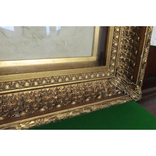52 - Gilt Framed Wall Plaque Classical Scene Mother with Child and Attendant Figure Approximately 15 Inch...