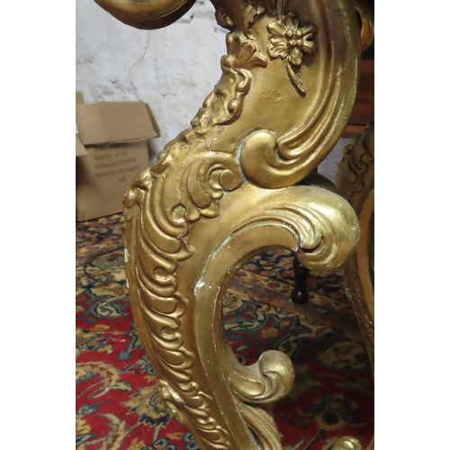 55 - Carved Giltwood Side Table Rococo Form with Polychrome Decorated Faux Marble Top above Scrolled Supp...