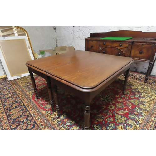 56 - William IV Irish Mahogany Three Part Economy Dining Table with Well Carved Central Supports Probably...