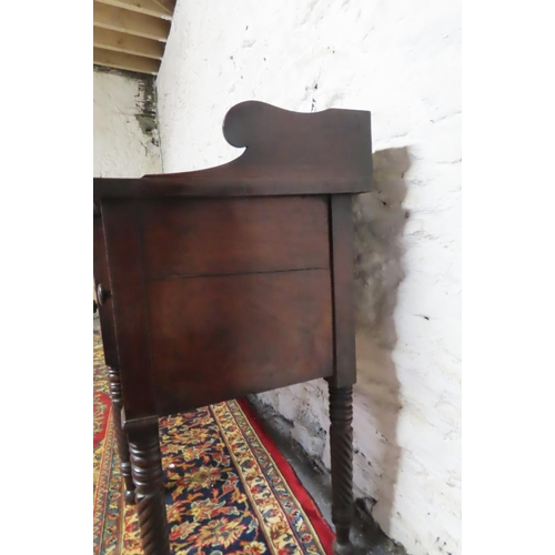 61 - Irish William IV Mahogany Sideboard with Three Quarter Back Gallery above Nelson Form Supports Appro...