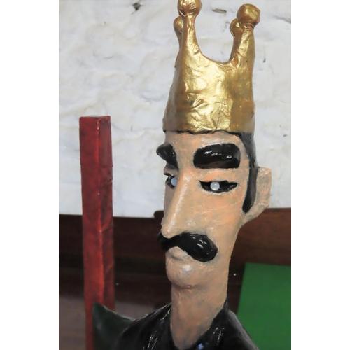 62 - Graham Knuttel Original Sculpture SelfÊSeated KingÊPapier Mache with Painted Decoration Gemset Eyes ...