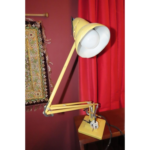 Vintage Full Size Angle Poise Desk Lamp Pale Yellow Ground Electrified Working Order