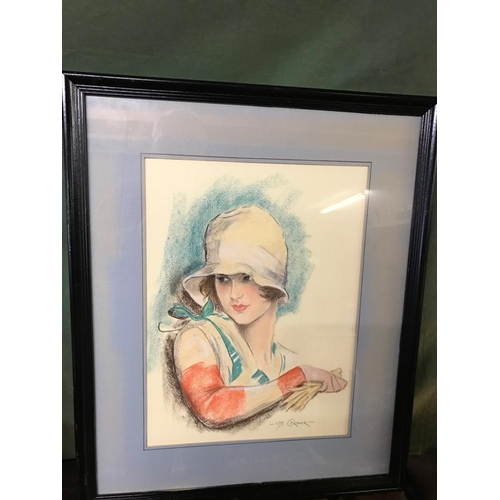 804 - Pair of Art Deco Ladies Signed Pastels Each Approx 22 Inches High x 18 Inches Wide...