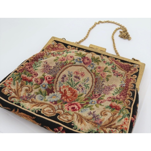 Tapestry Panel Decorated Ladies Evening Bag