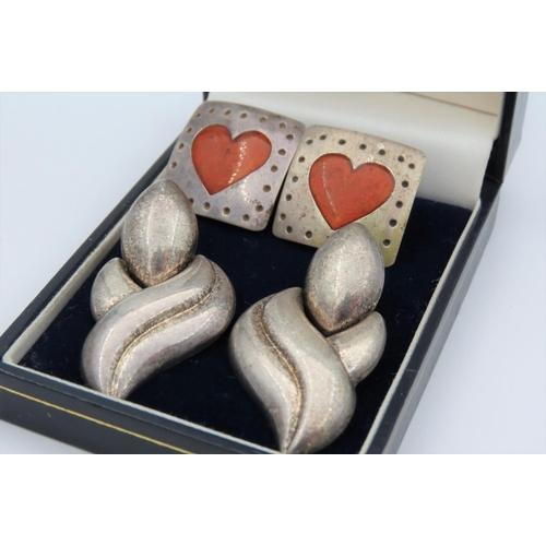 Two Pairs of Solid Silver Ladies Vintage Earrings