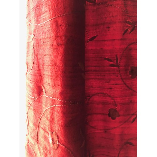 2164 - Two Pairs of Very Fine Silk Hand Embroidered Curtains Spans 10ft and 5ft Approximately Drop 8ft Appr...