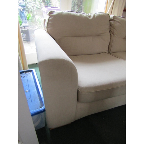 12 - Matching Upholstered Settee Two Seater Modern Cream Fabric Upholstery Approximately 5ft Wide and Var...
