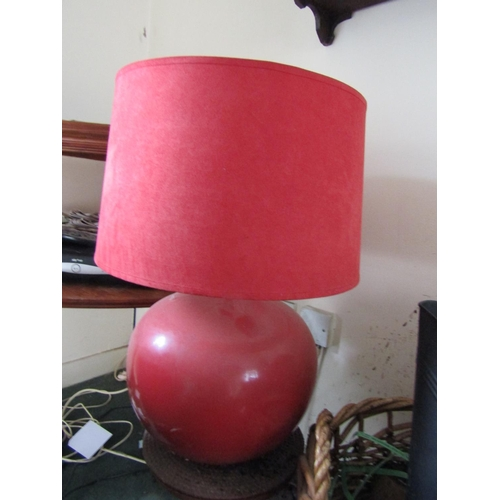 14 - Vintage Ceramic Globe Form Table Lamp with Linen Clad Shade Electrified Working Order Approximately ...