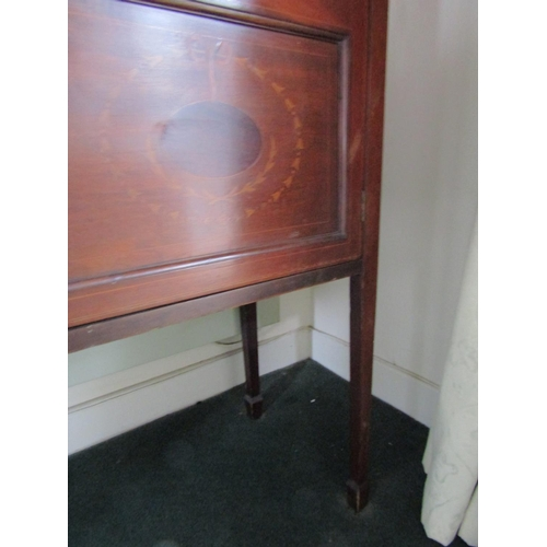 15 - Edwardian Mahogany Astro Glazed Two Door Display Cabinet with Satinwood Marquetry Decoration Approxi...