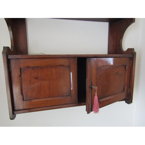 16 - Antique Mahogany Twin Cupboard Door Shelf Unit Approximately 25 Inches Wide