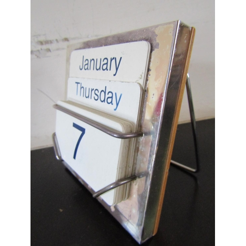 20 - Solid Silver Mounted Desk Diary with Day Date and Month Cards