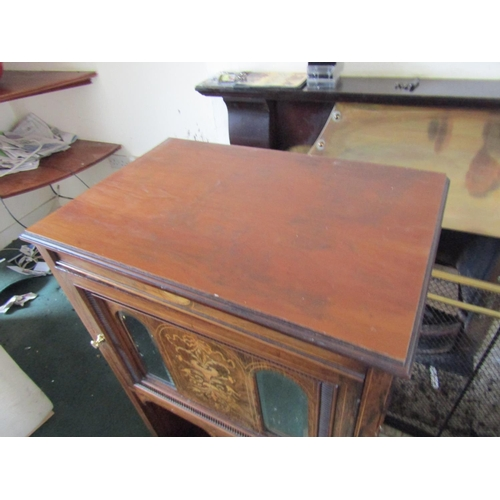 24 - Victorian Figured Walnut Marquetry Decorated Side Cabinet with Single Door Shelved Interior Approxim...