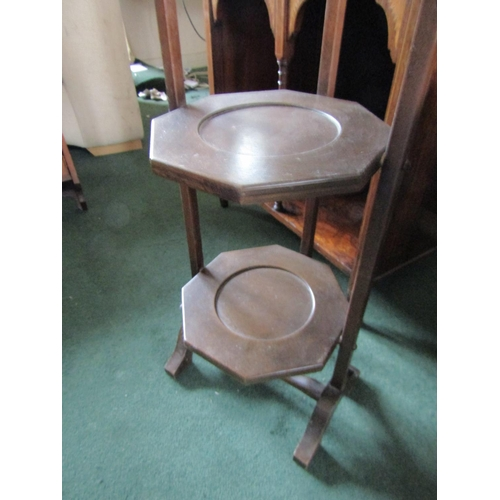 25 - Edwardian Three Tier Folding Cake Stand Approximately 11 Inches Wide x 32 Inches High