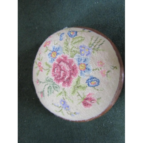 26 - Victorian Needlepoint Upholstered Circular Form Foot Stool Marquetry Decorated Approximately 10 Inch...