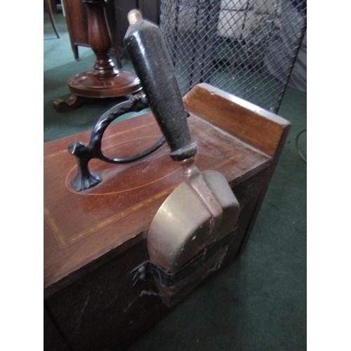 3 - Edwardian Mahogany and Satinwood Crossbanded Coal Companion with Original Shovel