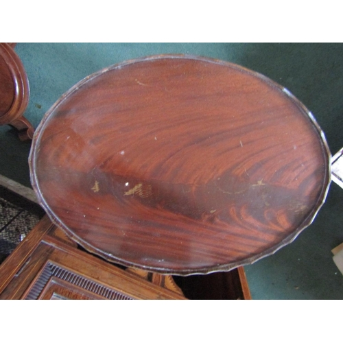 30 - Figured Mahogany Oval Form Tripod Occasional Table Turned Central Column Decoration Approximately 12...