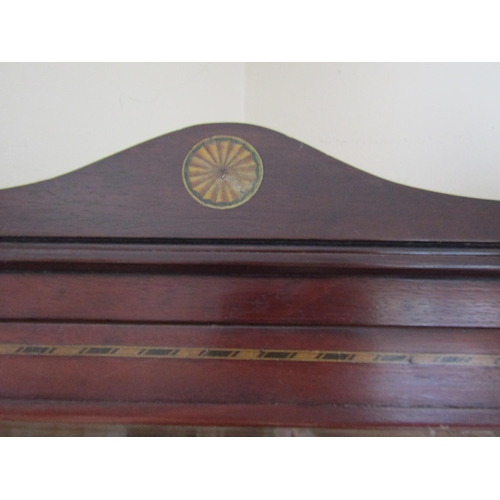 31 - Antique Mahogany Single Drawer Corner Cabinet with Marquetry Decoration Approximately 22 Inches High