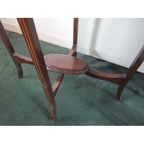 32 - Edwardian Mahogany Oval Form Occasional Table with Under Tier Approximately 17 Inches Wide x 29 Inch...