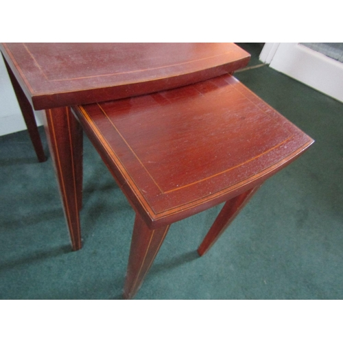 34 - Pair of Graduated Form Mahogany Occasional Tables Satinwood Cross Banded Decoration Largest Approxim...