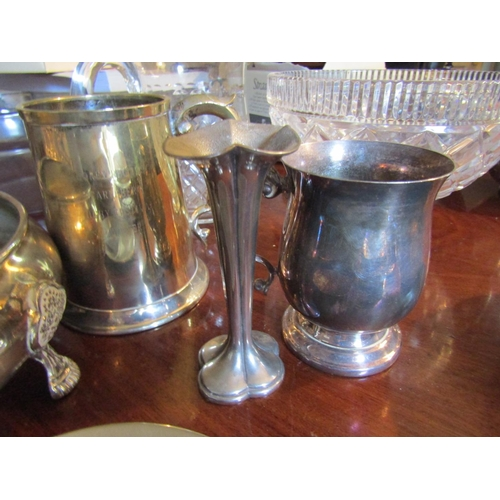 40 - Various Silver Plated Table Wear Including Two Tankards and Spill Vase with Circular Form Centrepiec...