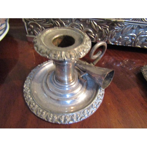 41 - Two Silver Plated Antique Candle Rests Ladies' Silver Plated Jewellery Box with Hinge Cover