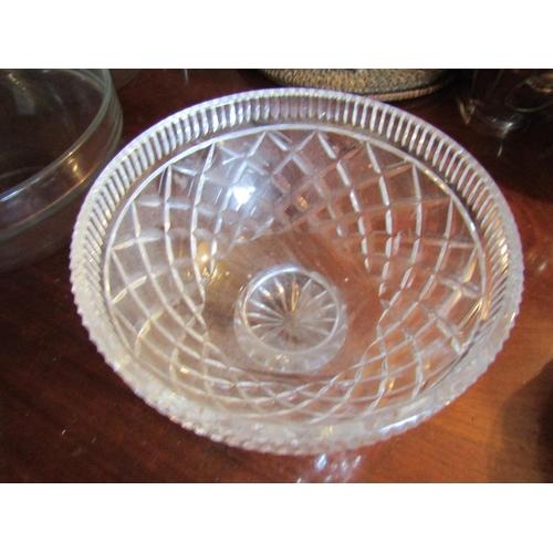 42 - Irish Cut Crystal Table Bowl Good Condition Circular Form Hobnail Cut