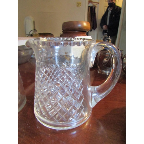 43 - Two Irish Crystal Pitchers Largest Approximately 9 Inches High
