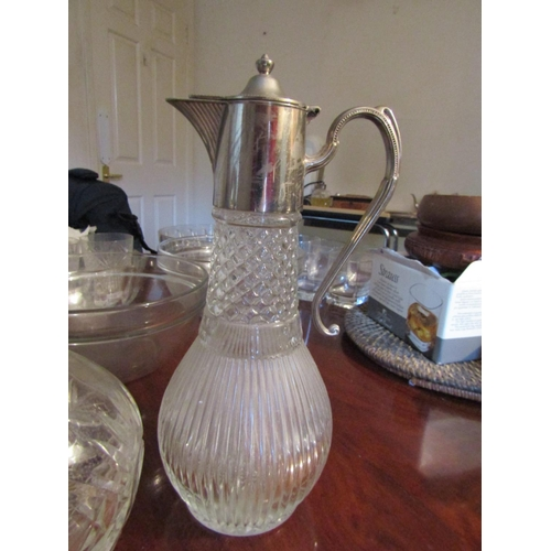 45 - Silver Plated Cleric Jug with Flying C Scroll Handles and Decanter with Stopper Tallest Approximatel...