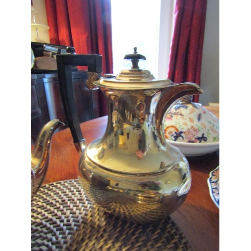 49 - Silver Plated Coffee Pot, Silver Plated Tea Pot and Silver Plated Wine Bottle Table Coaster Open Fre...