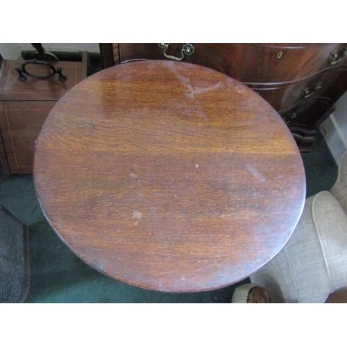 5 - Circular Form Oak Occasional Table on Turn Supports Approximately 18 Inches Diameter x 22 Inches Hig...