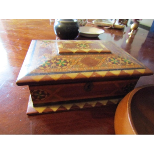 52 - Collection of Various Treenware and Horn Six Pieces in Lot Includes Marquetry Decorated Jewellery Bo...