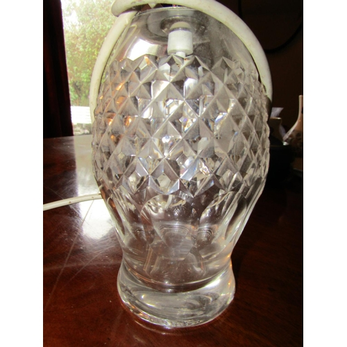 53 - Waterford Crystal Table Lamp with Pleated Shade Electrified Working Order Approximately 24 Inches Hi...