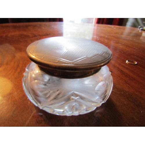 57 - Art Deco Silver Mounted Cut Crystal Table Jar Circular Form