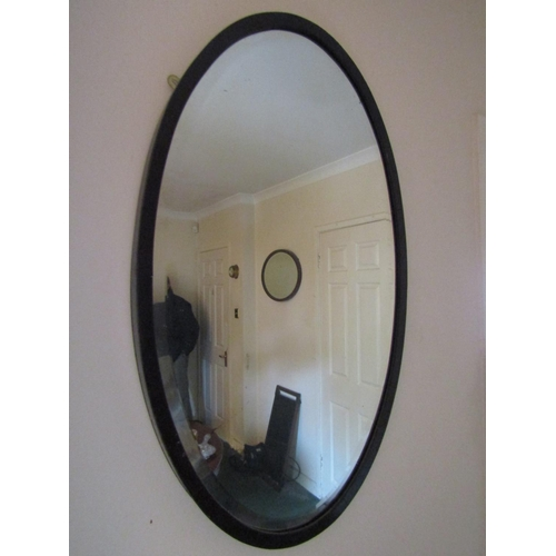 58 - Edwardian Oval Form Mirror Mahogany Framed Approximately 30 Inches High
