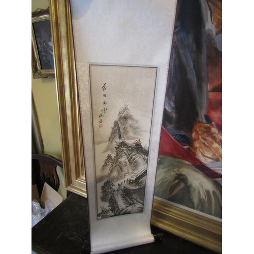 Chinese Scroll Painting Signed with Characters Upper Right Unfurls to Approximately 4ft 6 Inches Long