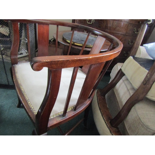 8 - Edwardian Mahogany Tub Frame Armchair Upholstered Seat Above Shaped Form Supports