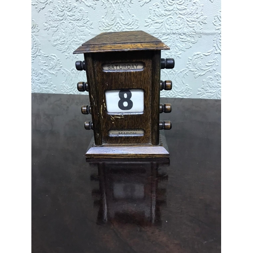 Antique Desk Calendar 15cm High x 13cm Wide x 7cm Deep