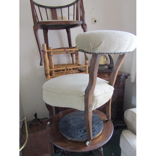 9 - Victorian Mahogany Side Chair Upholstered Above Cabriole Supports