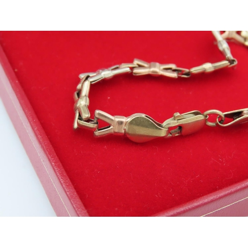 1 - 9 Carat Yellow Gold Bracelet of Interlinking Form with Lobster Claw Clasp Please Note: The Next 59 L...